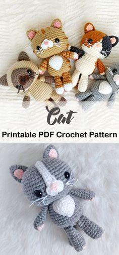 9 Crochet Cat Patterns -Amigurumi Tips - A More Crafty Life Crochet Crafts, Yarn Crafts, Crochet Projects, Easy Crochet, Crochet Baby, Free Crochet, Kids Crochet, Chat Crochet, Crochet Dolls