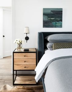 Designs by Sundown is a 2020 Gold List honoree featured in Luxe Interiors + Design. See more of this design professional's projects. Farmhouse Bedroom Decor, Home Decor Bedroom, Bedroom Furniture, Bedroom Table, Bedroom Décor, Design Bedroom, Bedroom Ideas, Masculine Master Bedroom, Modern Bedroom