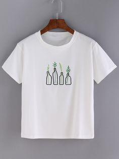 Bottle Embroidered T-shirt -SheIn(Sheinside)