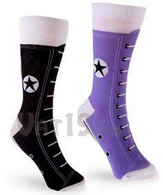 Hightop Sneaker Socks: Mid-calf socks in the trademark style of Chuck Taylor's