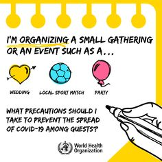 Are you organizing a small gathering or event such as a wedding 💒, a local sports match ⚽️or a party 🎉? Swipe 👉 to learn about precautions you should take to prevent the spread of #COVID19 among guests. International Health, Hot Cocoa Bar, World Health Organization, Health Advice, Safe Food, Party Planning, Halloween Party, Tips, Money