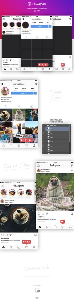 FREE Instagram Layout UI PSD – 2017 | MarinaD