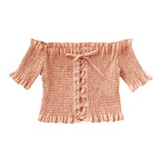 Smocked Off Shoulder Lace Up Top ($30) ❤ liked on Polyvore featuring tops, blouses, red off the shoulder top, red top, off the shoulder tops, lace-up tops and pink blouse