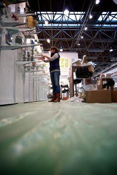 Aufbau des emotion factory-Standes (Tochterfirma der Jung Bonbonfabrik) auf der 51. PSI vom 09. - 11. Januar 2013 auf dem Messegelände in Düsseldorf