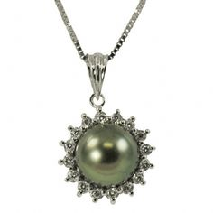Dazzle her with the Drama and Beauty of a Black and White Jewel that is exotically elegant.  Inspire her Love with The Jewelry Hut Fancy Designer Antique retro Vintage Style Cultured Pearl and Diamonds in 14 KT White Gold Pendant with 18 inches gold chain featuring 1 Genuine 8 - 9 mm Tahitian Cultured Pearl and surrounded by 16 Genuine Brilliant Round Shape Diamonds, 0.33 CTTW.  Pearl is the birthstone for Month of June and is among the most timeless, classic, and treasured of all gems.