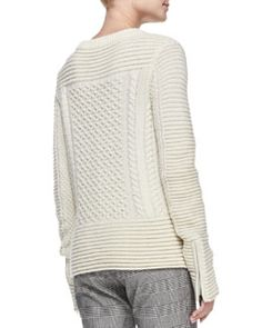 T8L2V Veronica Beard Fisherman Knit Zip-Detail Sweater