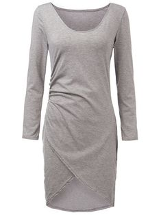 Grey Sexy Split Dresses Women\'s Asymmetric Bodycon Dresses