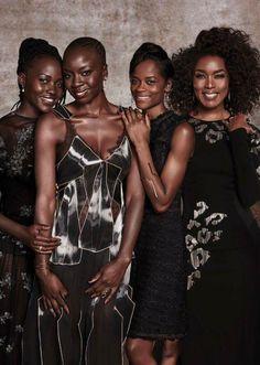 The women of Black Panther:  Lupita Nyong'o, Danai Gurai, Leticia Wright and Angela Bassett