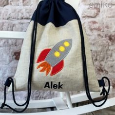 Personalized Draw String Back Pack - rocket