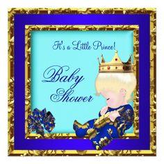 Baby Shower Royal Blue Gold Boy Prince Blonde 2 Invite