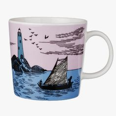 Moomin night Sailing Anniversary mug. Sad I didn't buy this last year when we were in Finland. Moomin Shop, Moomin Mugs, Tove Jansson, 65th Anniversary, Porcelain Mugs, Cute Mugs, Marimekko, My Happy Place, Scandinavian Design