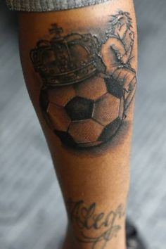 Cool King Football And Player Tattoo On Back Leg