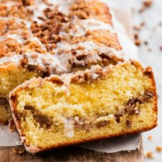 Cinnamon Pecan Coffee Cake Loaf is moist, flavorful, and easy to make. Perfect for special occasions and holiday mornings! Coffee Cake Loaf, Loaf Cake, Pie Cake, No Bake Cake, Pumpkin Chocolate Chip Bread, Pumpkin Bread, Chocolate Chips, Tea Cakes, Food Cakes