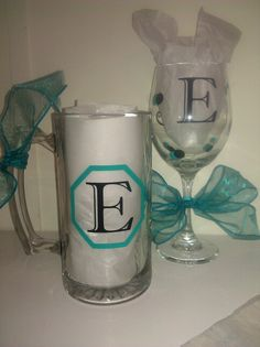 Mug and wine glass. Personalized on the back.