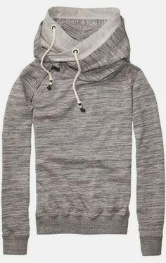 Double layer grey hood fashion