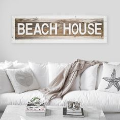 Beach House Sign with Raised Wooden Letters   Made from Rustic Reclaimed Wood   Beach Sign   Coastal Beach Sign   Vacation Beach House Sign Reclaimed Wood Picture Frames, Reclaimed Wood Signs, Picture On Wood, Beach Wood Signs, Beach House Signs, Home Signs, Modern Cottage Decor, New Photo Frame, Raised House