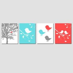 Baby Bird Quad - Set of Four 11x14 Prints - Kids Wall Art for Nursery - Choose Your Colors - Shown in Coral, Muted Aqua, Gray, and More on Etsy, $75.00