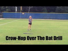 Softball Outfield Drills: Crow-Hop Over The Bat Drill Softball Workouts, Softball Drills, Softball Coach, Girls Softball, Elite Softball, Softball Cheers, Softball Equipment, Baseball Training, Soccer Practice
