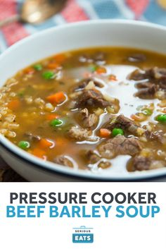 Pressure Cooker Beef Barley Soup - My WordPress Website Instant Pot Pressure Cooker, Pressure Cooker Recipes, Pressure Cooking, Slow Cooker, How To Cook Barley, How To Cook Steak, Beef Recipes, Soup Recipes, Barley Recipes