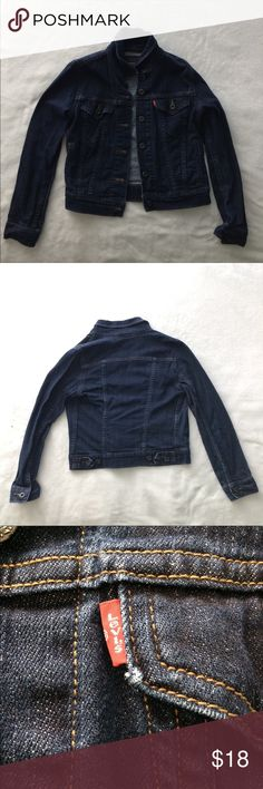 dark blue Levi's jean jacket super cute dark blue Levi's jean jacket:) size tag on the inside is cut, but there are no flaws to this product!! I am always open to offers!! 😉🦕 Levi's Jackets & Coats Jean Jackets