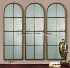 1- Tuscan Style Windowpane Arched Wall Antiqued Mirror Metal Frame - Premier Home Decor