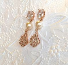 Bridal 14K Rose Gold Filled EarringsHigh Quality by SUSANsBAUBLES