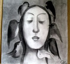 THOUGHTS Charcoal drawing by ArtbyEfka on Etsy