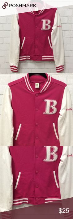 "Love Tree Pink and Ivory Varsity Jacket Love Tree varsity jacket size Medium. Like new condition in a Medium. This has a very soft, cozy texture and really great quality. Measurements shoulders 15"" sleeves from shoulder 24"". 65% Cotton & 35% polyester LoveTree  Jackets & Coats"