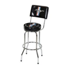 Ford Mustang Backrest Bar Stool - Black