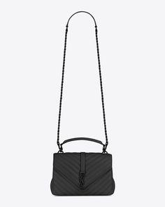 d1ead54cd98f medium collège bag in black matelassé leather