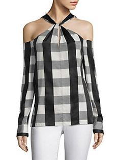 Collingwood Cold-Shoulder Gingham Cotton-Blend Top in Black RAG & BONE Collingwood Gingham Cold-Shoulder Top. Casual Outfits, Fashion Outfits, Womens Fashion, Diy Fashion Projects, Monochrome Fashion, Refashion, My Wardrobe, Diy Clothes, Blouse Designs