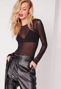 Mesh Bodysuit Black