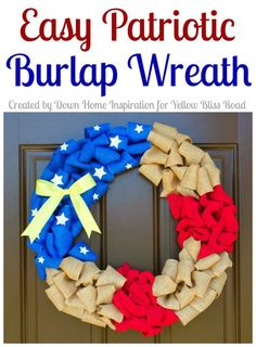Easy Patriotic Burlap Wreath