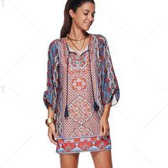 Ethnic V-Neck 3/4 Sleeve Tribal Printed Dress For Women