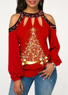 Sequin Embellished Cold Shoulder Printed T Shirt Women Long Sleeve Tops Off Shoulder T Shirts Plus Size Mode Outfits, Casual Outfits, Fashion Outfits, Womens Fashion, Fall Outfits, Winter Fashion, Fashion Clothes, Fashion Sale, Clothes Women