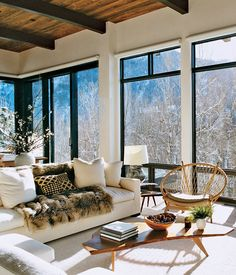 Aerin Lauder's Aspen home. I would die if that was the view from my living room!