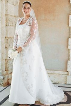 If you are looking for plus size wedding dresses with sleeves, but are not having any luck, then consider wearing a bridal jacket over the gown. Davids Bridal Wedding Gowns, Plus Size Wedding Gowns, Wedding Dresses Plus Size, Bridal Wedding Dresses, Plus Size Dresses, Wedding Venues, Wedding Ideas, Ivory Wedding, Party Wedding