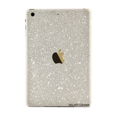 IPAD MINI GLITTER DECAL SILVER (29 CAD) ❤ liked on Polyvore featuring accessories, tech accessories and tech