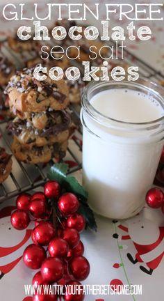 Gluten Free Chocolate & Sea Salt Chocolate Chip Cookies with @Sue Goldberg Goldberg-Ann Metz #glutenfree #cookie dough via www.waittilyourfathergetshome.com #sp