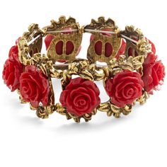 ModCloth Fairytale Retro Rosie Bracelet ($13) ❤ liked on Polyvore featuring jewelry, bracelets, accessories, red, rose, hinged bangle, rose flower jewelry, flower jewelry, red rose jewelry and retro jewelry