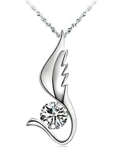 "236eb5799ac Charming HEAVY Platinum Layered Cubic Zirconia ""ANGEL WING"" PENDANT Necklace   Pendant Angel Wing"