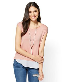 Shop Envelope-Back Twofer T-Shirt. Find your perfect size online at the best price at New York & Company.