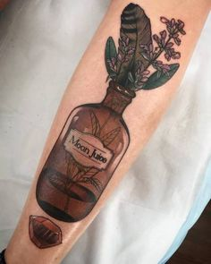 Moon juice bottle tattoo A bottle is often a narrow-necked container fabricated from an impermeable Body Art Tattoos, Sleeve Tattoos, Cool Tattoos, 16 Tattoo, Get A Tattoo, Piercing Tattoo, Witchcraft Tattoos, Bottle Tattoo, Muster Tattoos
