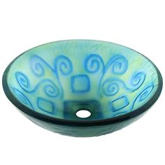 Polaris Sinks Glass Vessel Sink in Bluegreen Frost, Green/Blue Classic Bowls, Steel Kitchen Sink, Kitchen Sinks, Glass Waterfall, How To Wash Vegetables, Square Sink, Buy Tile, Glass Vessel Sinks, Crackle Glass