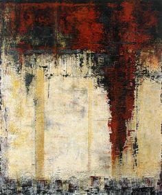 Middle Earth, peinture à dominante beige et marron par Patricia Oblack  #mixmedia #abstract #beige
