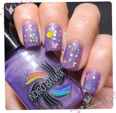 """Indigo Bananas: ★ Love Like Butterflies ★(""""a clear base with butterflies, heart, dots, hexes and iridescent glitters ) over ★ Zhu Yingtai Is A Lady ★ Layered polish."""