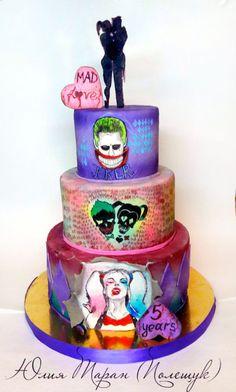 Suicide squad - Cake by Julia Taran Wedding Cakes With Cupcakes, Cupcake Cakes, Joker Cake, Gateaux Cake, Superhero Cake, Joker And Harley Quinn, Cookie Designs, Birthday Parties, Birthday Cake