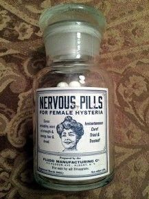 Nervous Pills for Female Hysteria. The Narrator took similar pills within The Yellow Wallpaper. Old Medicine Bottles, Old Bottles, Antique Bottles, Vintage Bottles, Retro Ads, Vintage Ads, Female Hysteria, The Knick, Old Advertisements