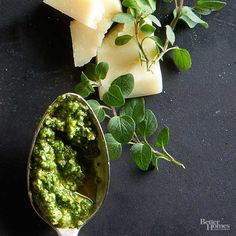 Try this walnut pesto on pizza, or do as we do and whirl it into your scrambled eggs. Finish both with a sprinkle of crushed red pepper./