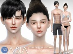 The Sims Resource: Asian skintones 3.0 by S-Club • Sims 4 Downloads